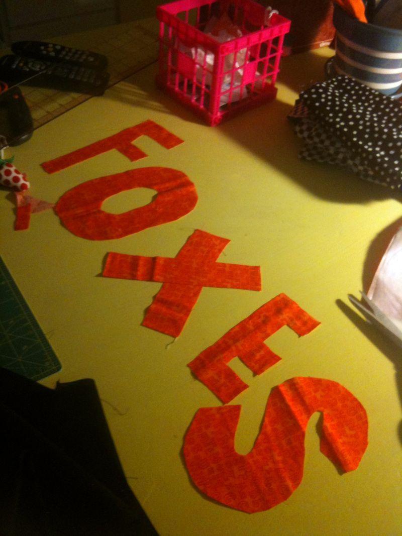 Foxes pillow cut letters
