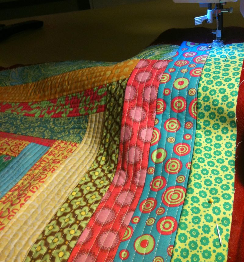 Log cabin rug quilting