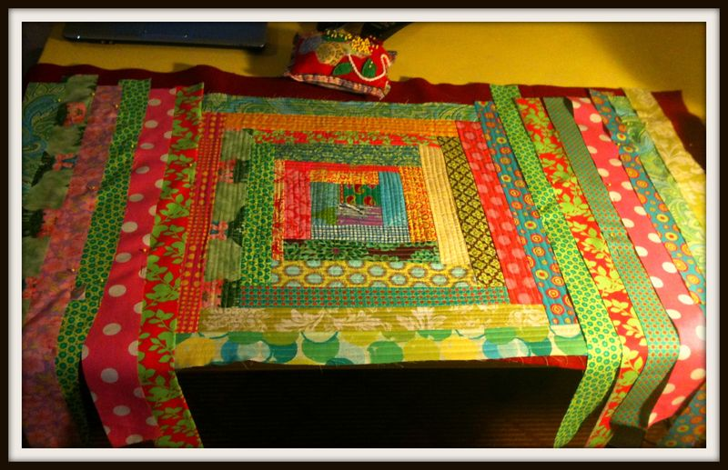 Log cabin rug strips sides